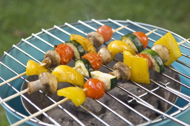 Shish-ka-bobs grilling outdoors