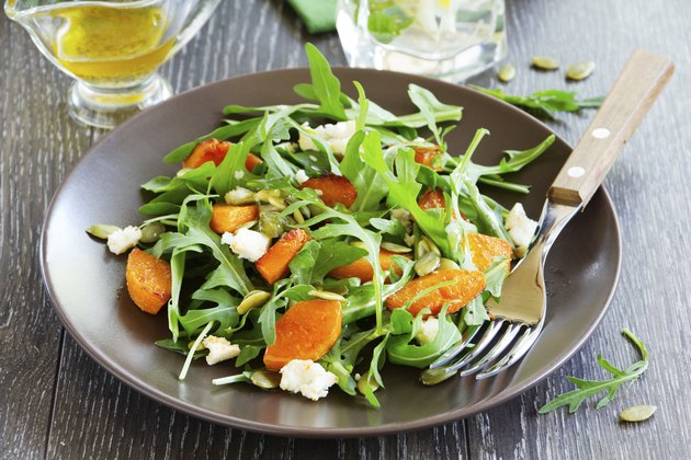 Pumpkin salad, arugula and feta.