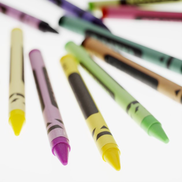 Coloured crayons with blurred background