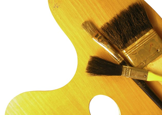Paintbrushes and artist palette