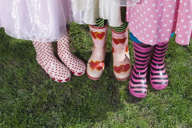 Girls wearing patterned boots