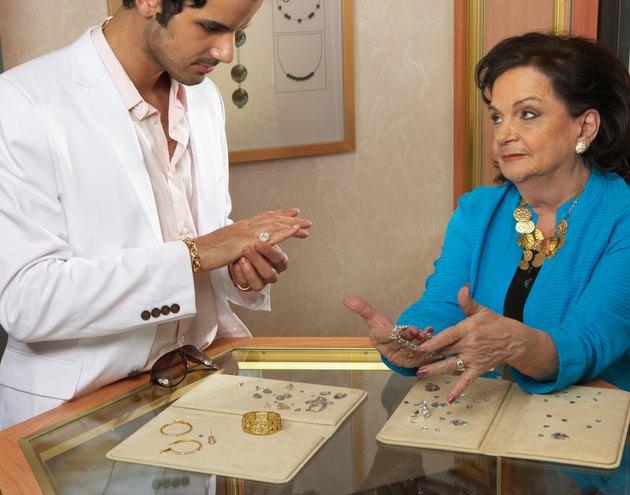 Customers in jewellery store