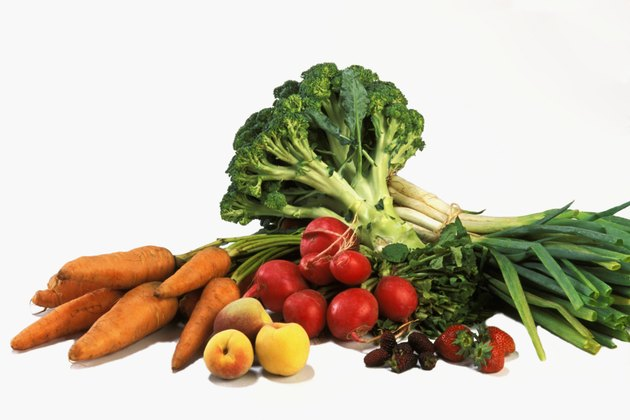 Various fruits and vegetables on counter