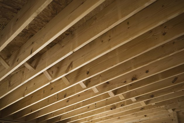 Wooden beams of ceiling in house