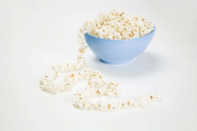 Strand of popcorn on string