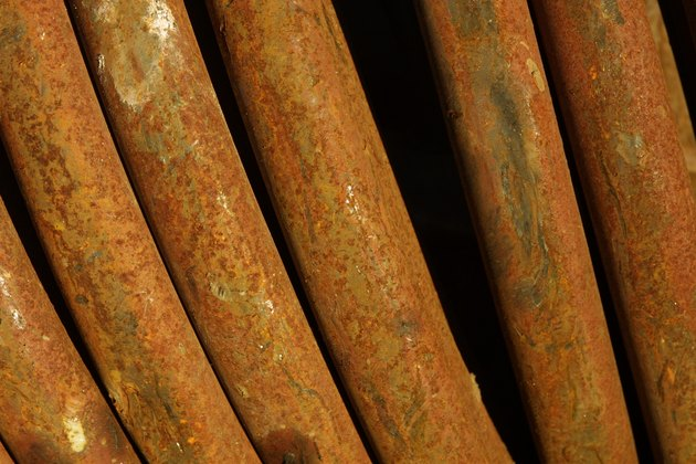 Rusted steel pipes