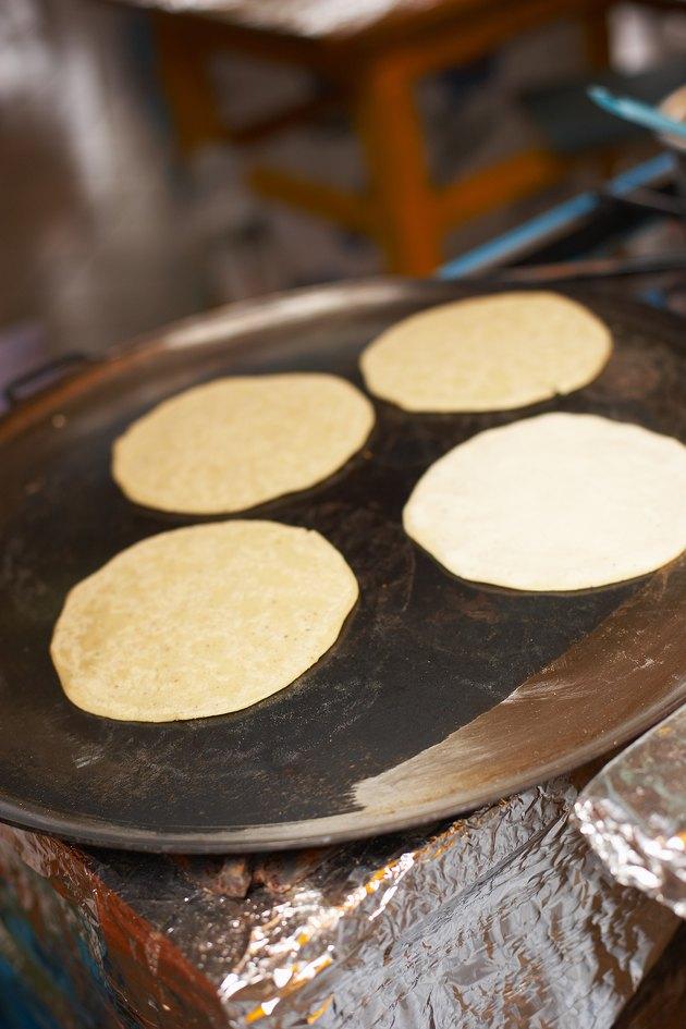 Tortillas cooking