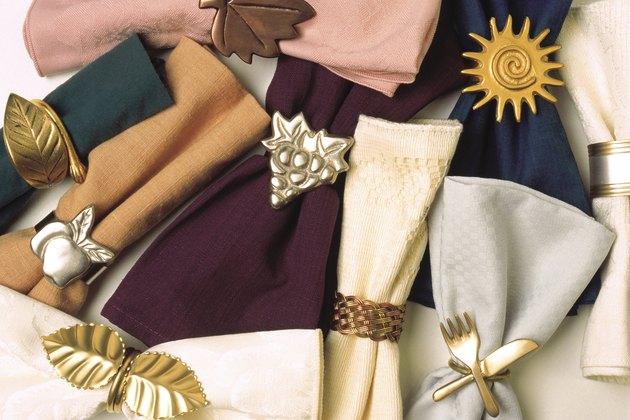Napkins with napkin rings