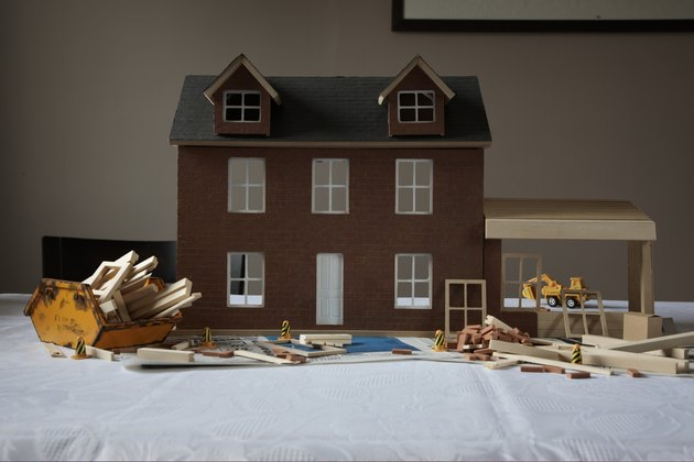dolls house with extension in construction