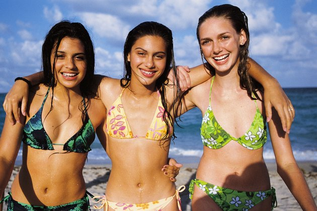 Teenage girls at beach