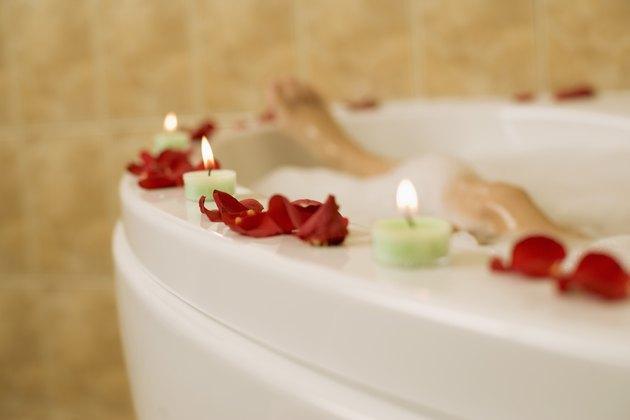 Candles around bathtub