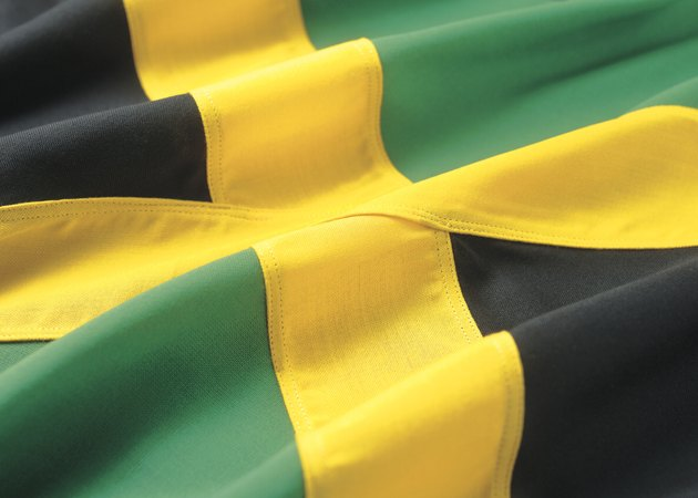close-up of the Jamaican flag