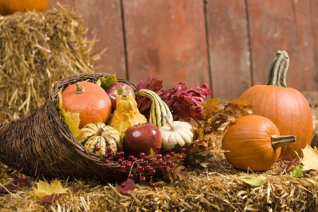 Cornucopia with winter squash and autumn leaves