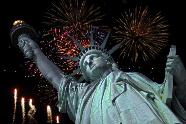 Statue of Liberty in New York and fireworks