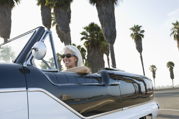Woman in convertible