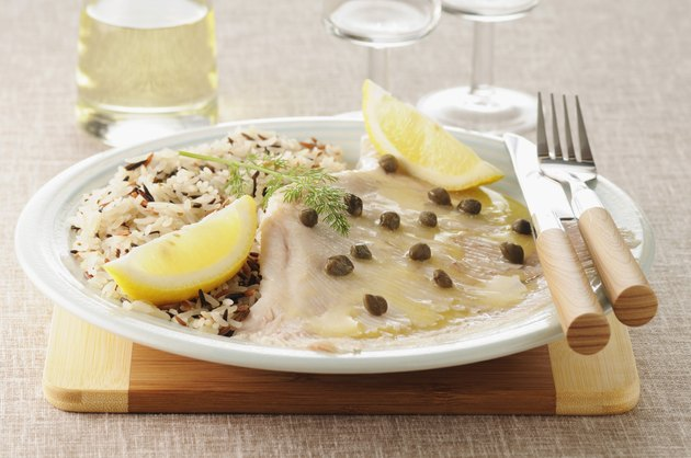 Skate wing with lemon caper sauce