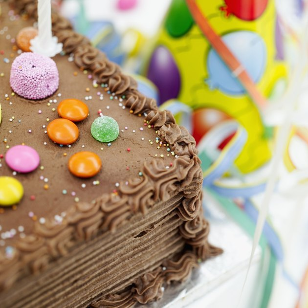 close-up of a birthday cake