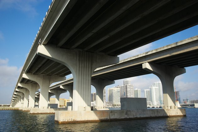 View of skyline of Miami, Florida through viaduct
