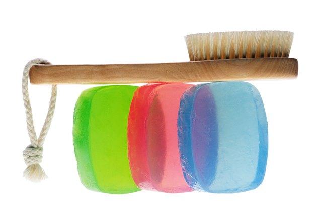 Brush balanced on bars of soap