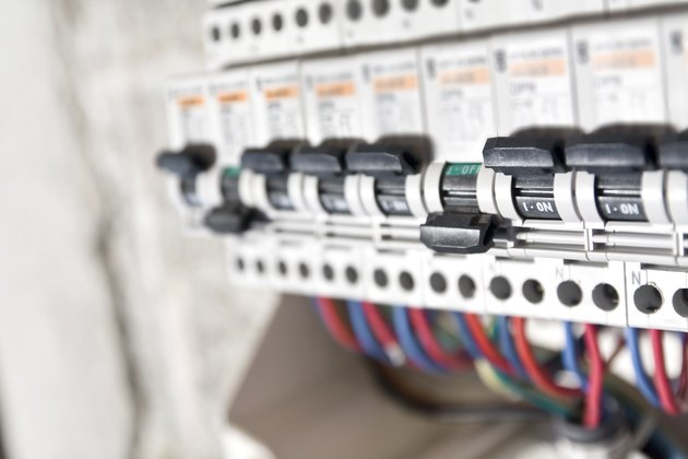 Circuit breaker installation close up