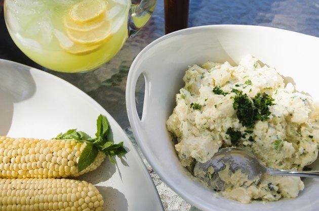 Potato salad and corn on the cob