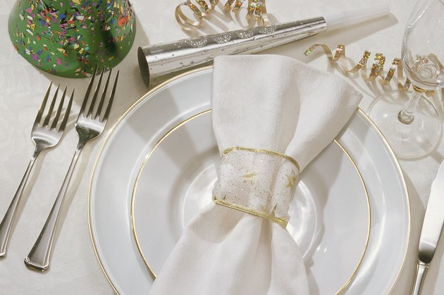 Formal place setting at New Year's eve party