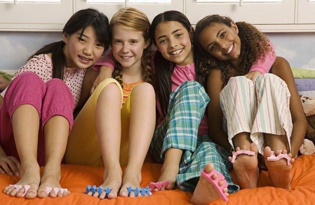Girls at slumber party