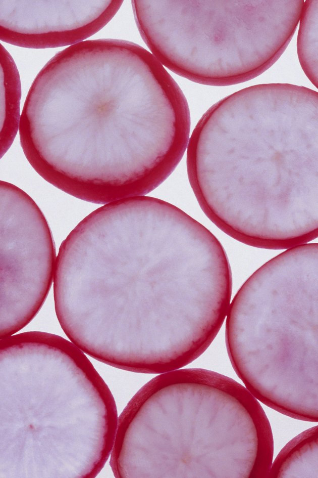 Slices of radishes