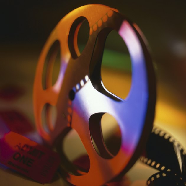 Film reel with movie ticket