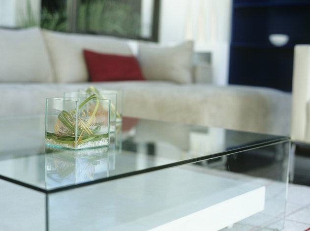 Glass table in modern living room