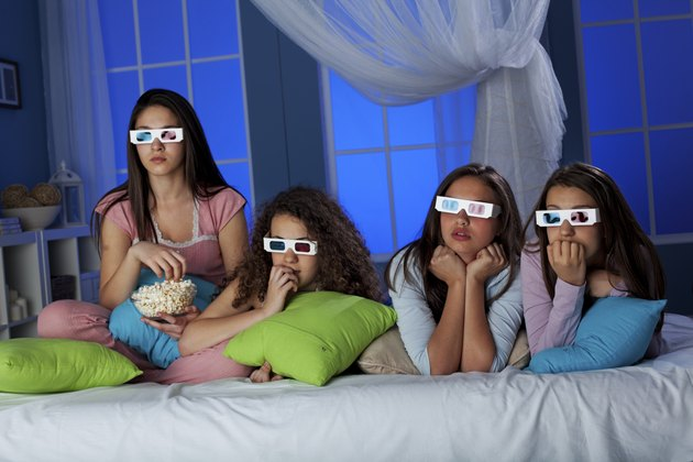 Teenagers wayching 3-D movie