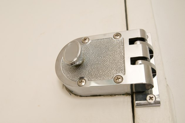 Close-up of surface mount deadbolt door lock