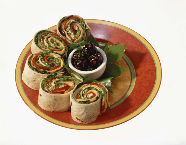 Tortilla vegetable rolls with olives
