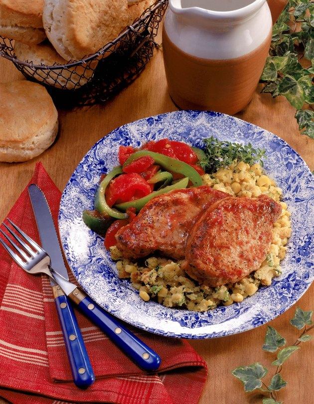 Pork chops and cornbread stuffing