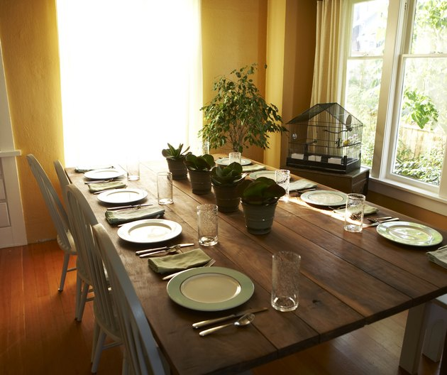 Table setting in light filled dining room