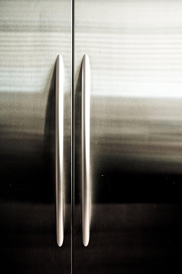 Doors on stainless steel refrigerator