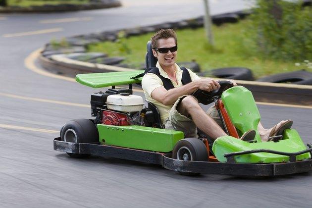 Man riding go kart