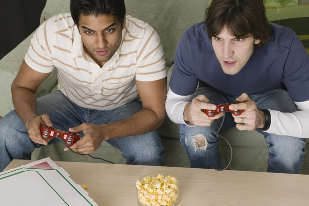 Friends playing video game together