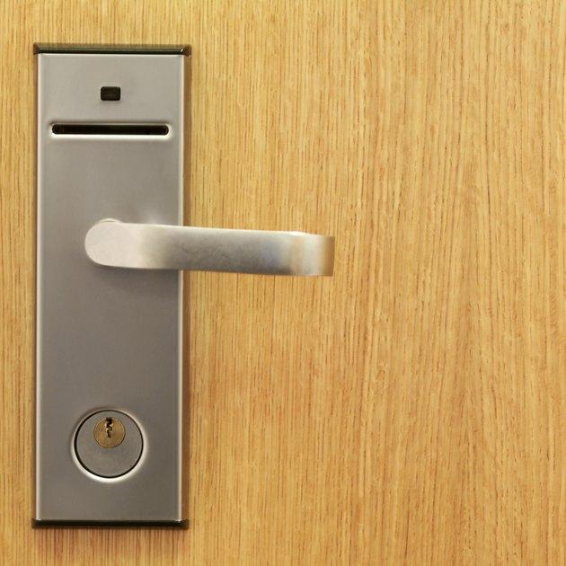 Close-up of hotel bedroom door