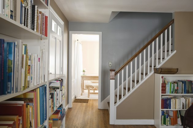 Bookshelves and stairway