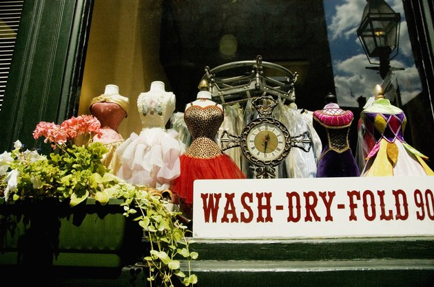 Close-up of a dresses in a display window, Boston, Massachusetts, USA