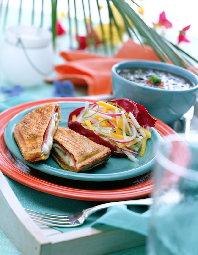Ham and cheese panini with jicama salad and black bean soup