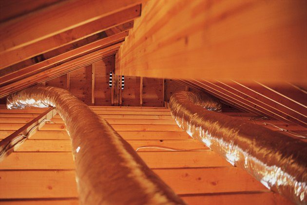 Air conditioner duct work in home attic