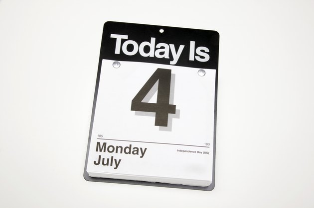 Day calendar with July fourth