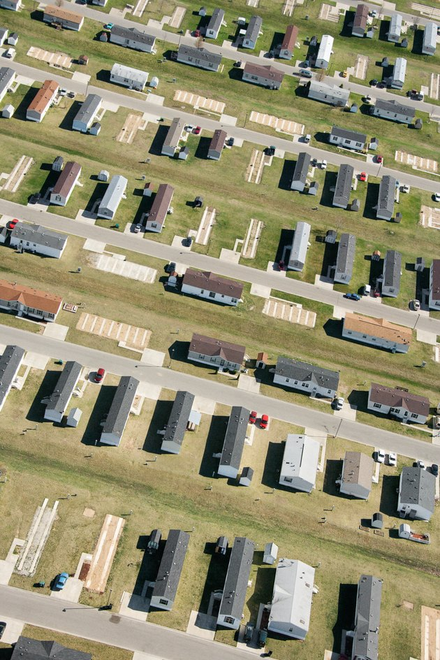 Aerial view of trailer park in Indiana