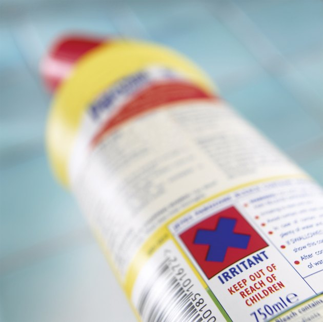 Close-up of a Label on a Bottle of Detergent