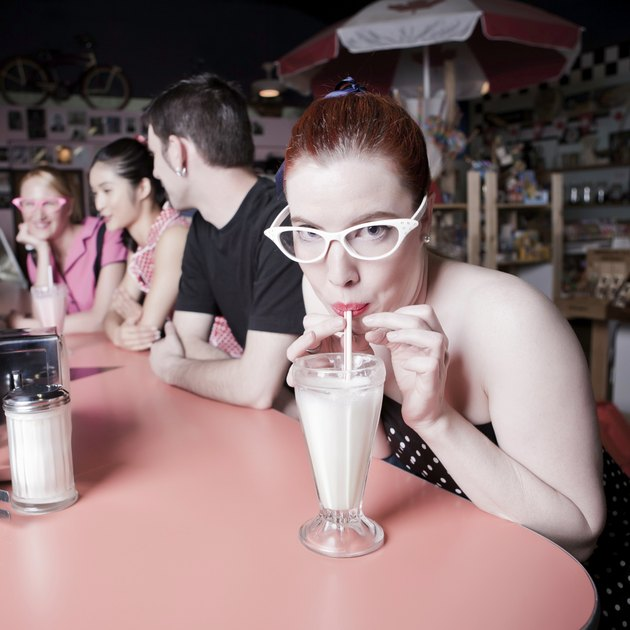 In the '50s, girls of all ages often wore cat eye glasses.