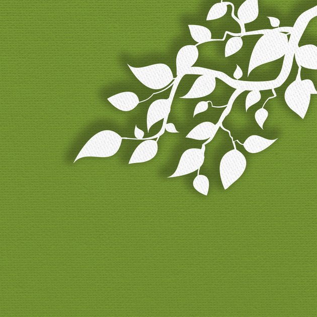 Paper leaves on green background.