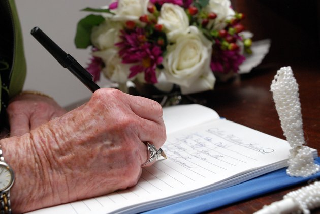 signing a guestbook