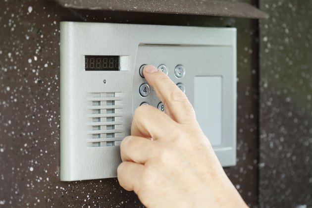 finger pushing button of  intercom